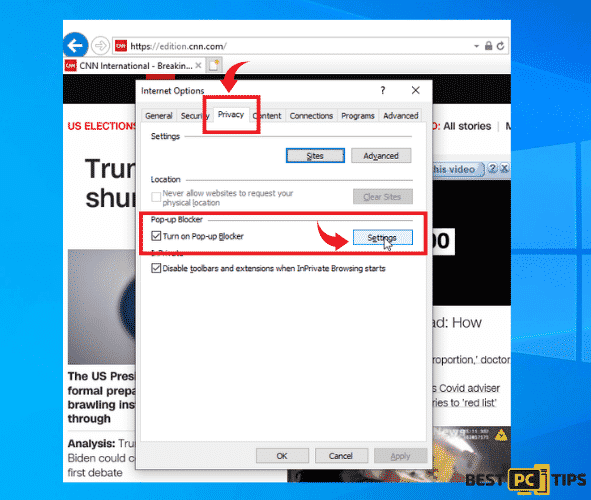 IE privacy settings