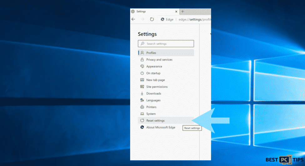 Reset settings in Microsoft Edge