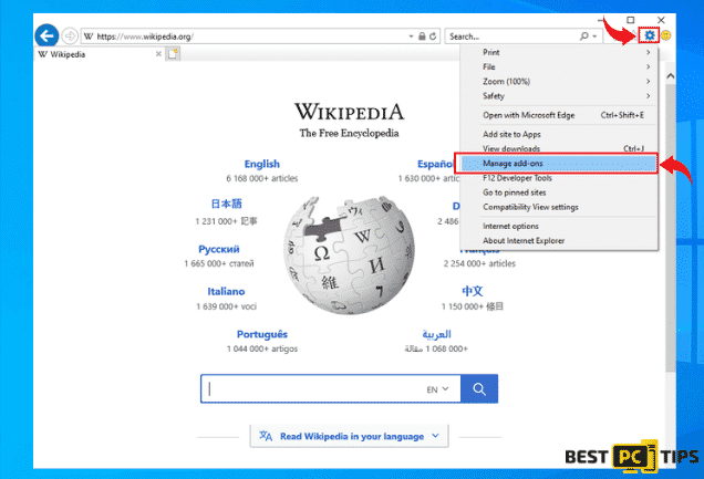 Managing Add-ons in Internet Explorer