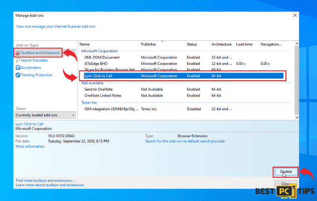 Disable Add-ons in Internet Explorer