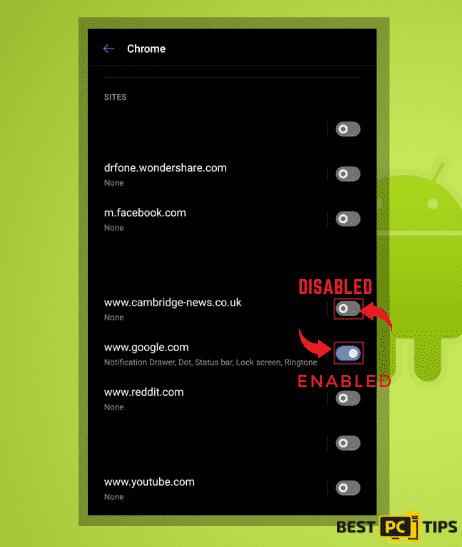 disable notification andoid chrome