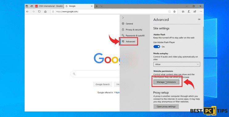 edge browser permissions