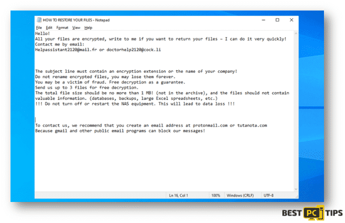 Clhmotjdxp Ransomware Ransom Note