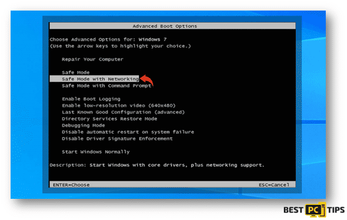 Selecting Safe Mode with Networking