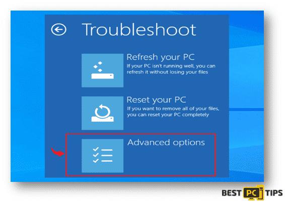 Windows 10 Troubleshoot Advance Options