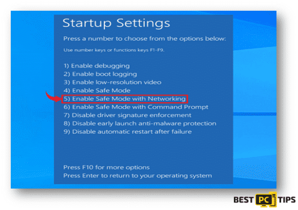 Startup Settings Enabling Safe Mode with Networking