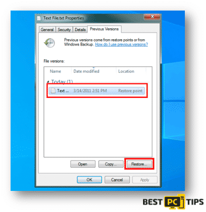 Windows Previous Versions for Files