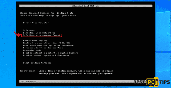 Select Safe Mode with Command Prompt