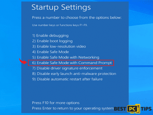 Select Enable Safe Mode with Command Prompt