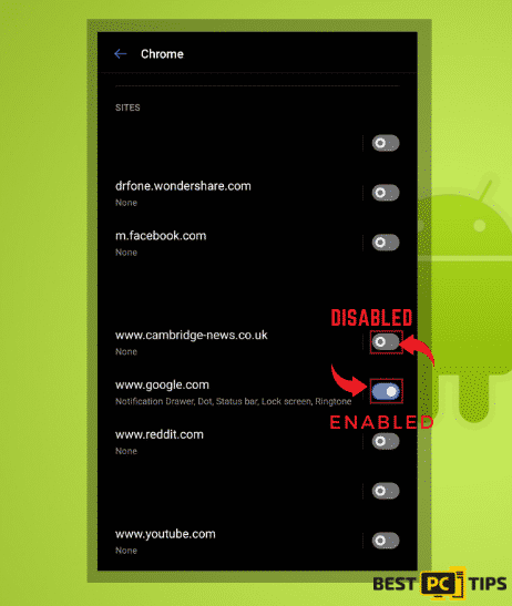 Disabling Website Notifications in Android Chrome