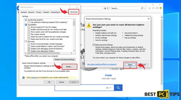 Resetting Internet Explorer