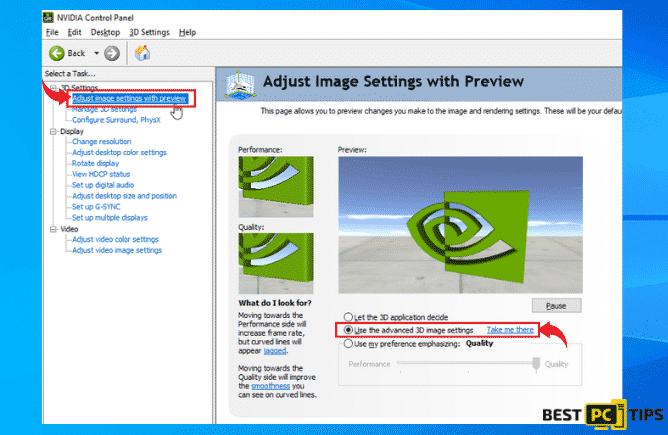 Use Advanced 3D Settings