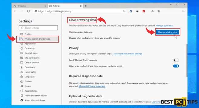 Clear Browsing Data in Edge