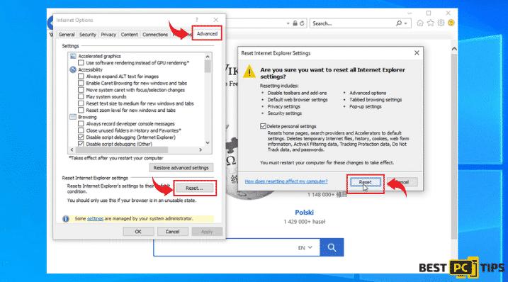 internet explorer browser reset