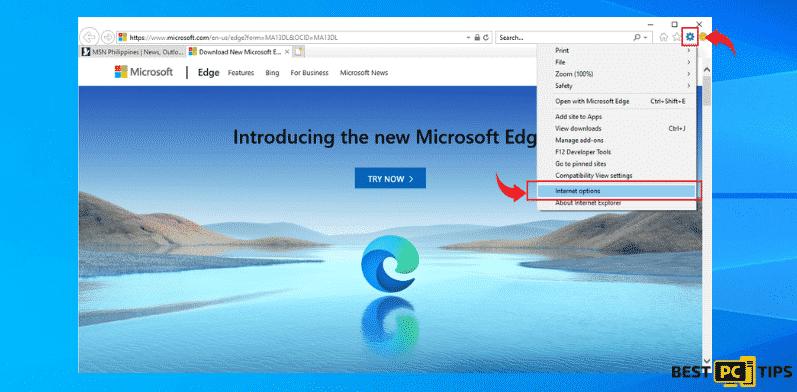 internet explorer options