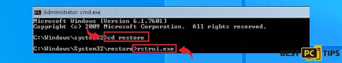 rstrui.exe restore