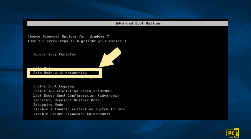 Safe mode networking for Windows 7