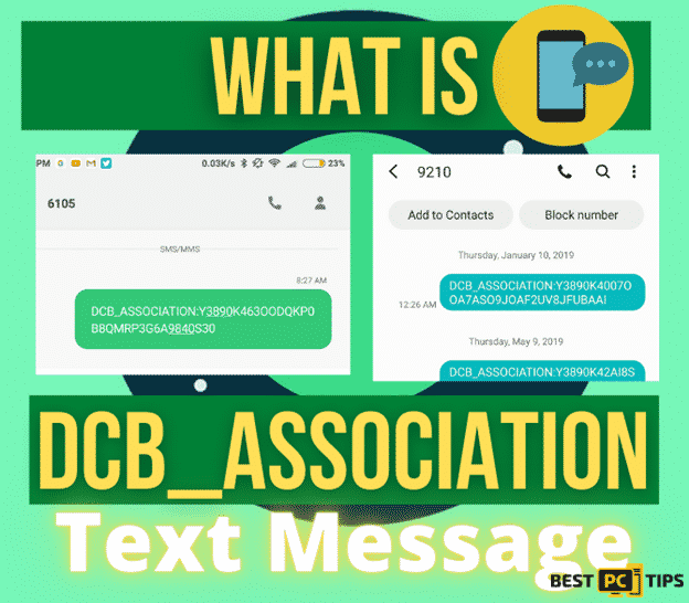 What is a DCB_ASSOCIATION Text Message