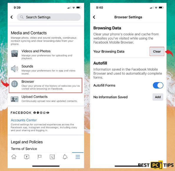 iOS Facebook Clearing Data