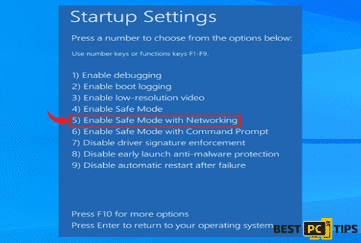 Select Safe Mode with Networking
