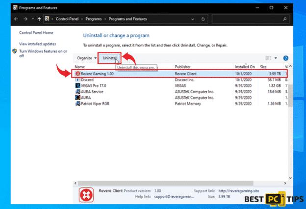 Removing a Program in Windows