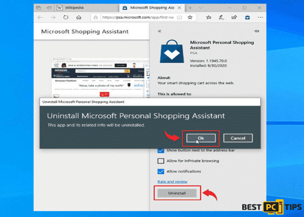 Uninstalling Extensions in MS Edge