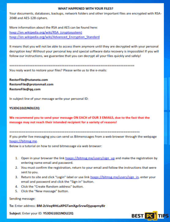 RestorFile Ransomware Ransom Note