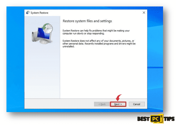 System Restore Home Page