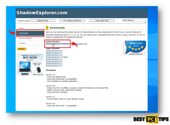 Shadow Explorer Website Home Page