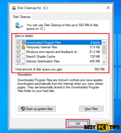 Selecting Locations for Disk Cleanup