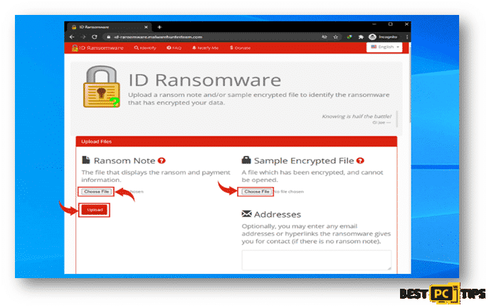 ID Ransomware Homepage