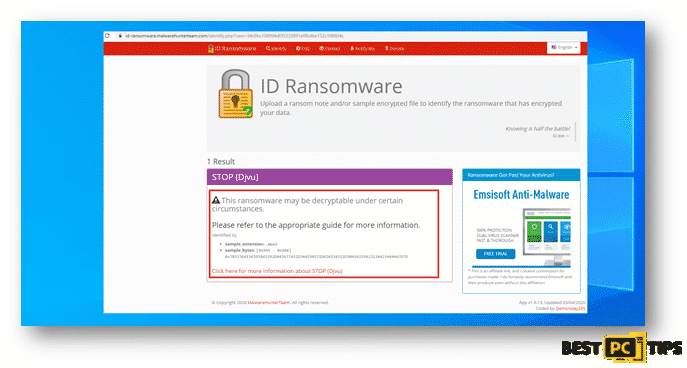 ID Ransomware detected possible decryption