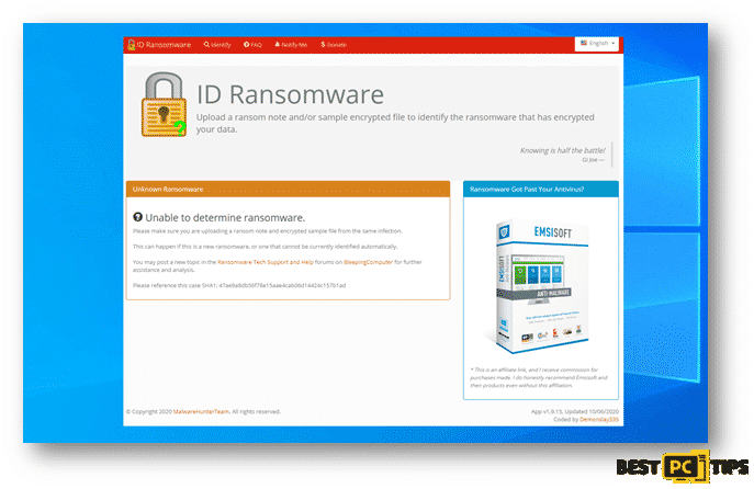 ID Ransomware not being able to detect the ransomware name