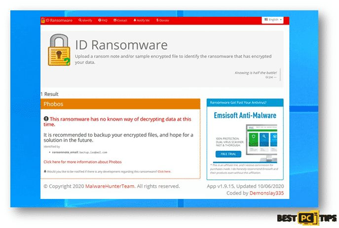 ID Ransomware saying decryption is impossible