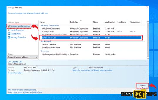 Internet Explorer removing add-ons