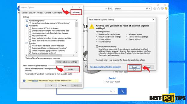 Internet Explorer Advanced Options