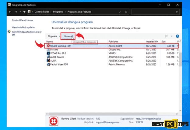 Uninstalling a Program in Windows 10