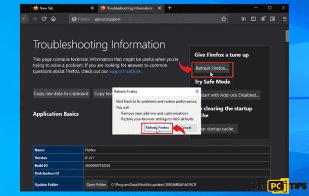 Resetting Firefox