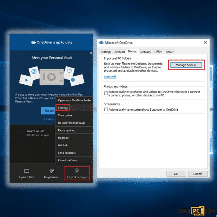 Microsoft OneDrive Settings and Managing Backup