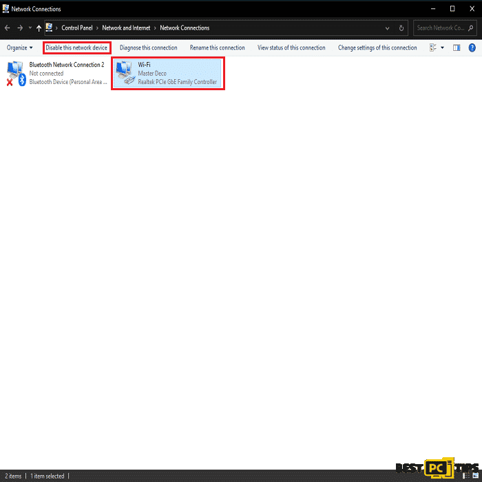 Disabling Network Connection