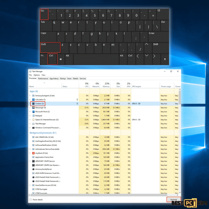 Ending Cortana Process in Task Manager