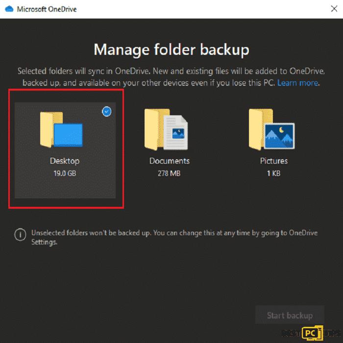 OneDrive Selecting Folder for Backup