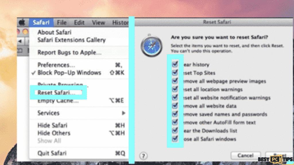 reset Safari to remove Startbrowser.co search