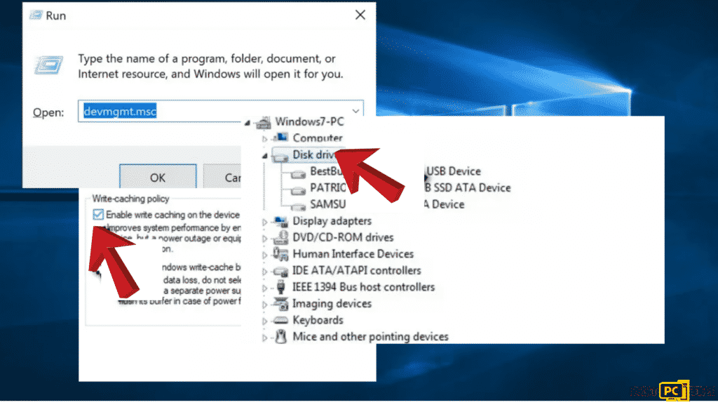 change hard disk policies to fix rtwlane.sys Blue Screen error in Windows